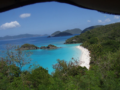 A view of trunk bay, snapped from the back of one of the islands many pickup truck taxis.  Trunk Bay is considered to be one of the best beaches in the world.  (Although, frankly, none of the beaches here are slouches...)