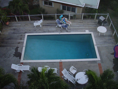 View down to the association pool from the deck.