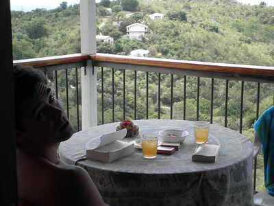 Playing cards and reading out on the deck - rum drinks and snacks added, of course...