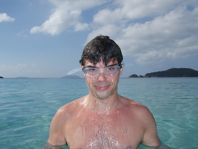 In the water at Cinnamon.  This might be the photo that stops my presidential election bid.  On the other hand, it could launch a career as a comedian or clown if IBM doesn't work out...