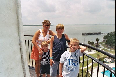 The Gibson gang atop the lighthouse.  128 steps