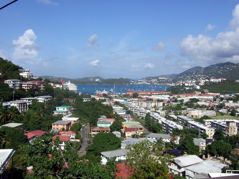 View from master bedroom top balcony.  Downtown Charlotte Amalie is on the right side of the harbor.