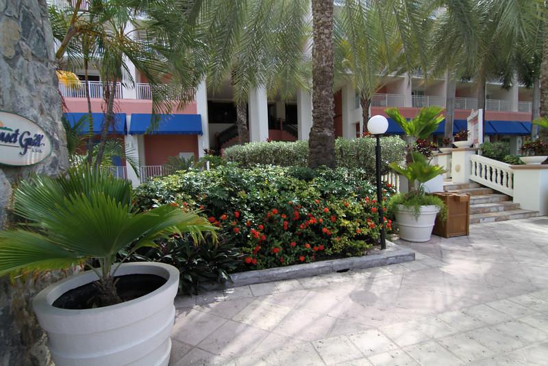 Walkway above pool area