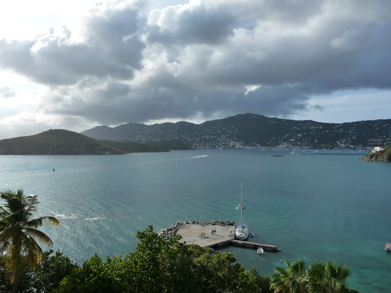View from Rumbar outdoor patio at the Frenchmans Reef--looking straight across the bay.