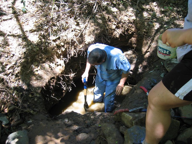 Of course, the further in you dig, the more likely that the ceiling of the hole will cave in on you.  Ah, Dad's not afraid of that... he wants to find gold!