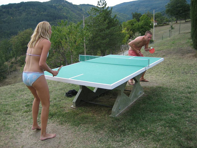Isabel and Sjoerd doing some table tennis