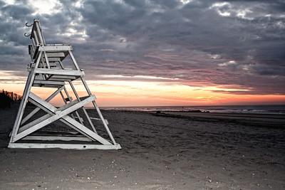 Stone Harbor at dawn, lifeguard chairs