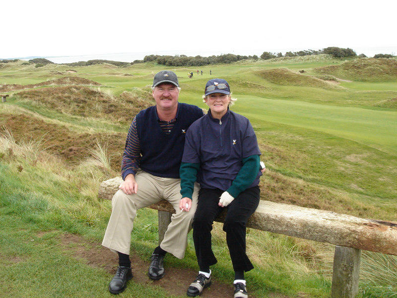 Tom and Eugenie at Royal County Down<br /> Newcastle, County Down<br /> 6881 Yards Par 71   Ladies 6243 Par 76<br /> Only course in Northern Ireland with Heather
