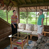 Sue and Sharon exclaim that we even have our own porch for our two rooms!  Dig that Deer Antler lamp!