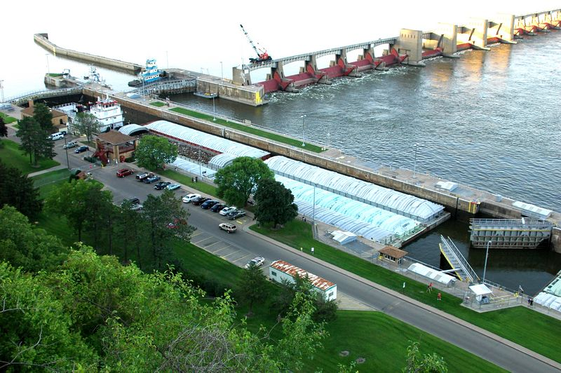 Lock on the Mississippi in Dubuque, IA