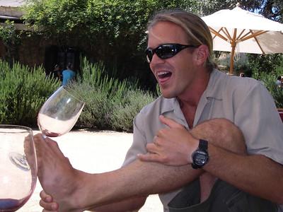 Frank doing acrobatic wine tasting