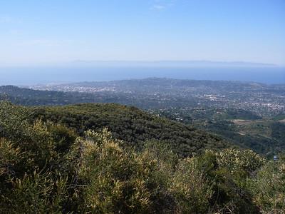 View of the city of Santa Barbara and Santa Cruz Island offshore.