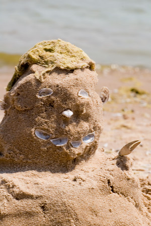 "Enjoying the beach to ourselves on South Manitou Island (in Lake Michigan.)  A (somewhat fuzzy) close up of ""Sandy"", Mark's creation."