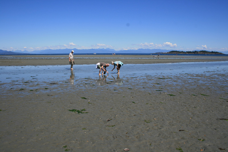 G, Mom, and Dad beachcombing on Rathtrevor Beach, Parksville.
