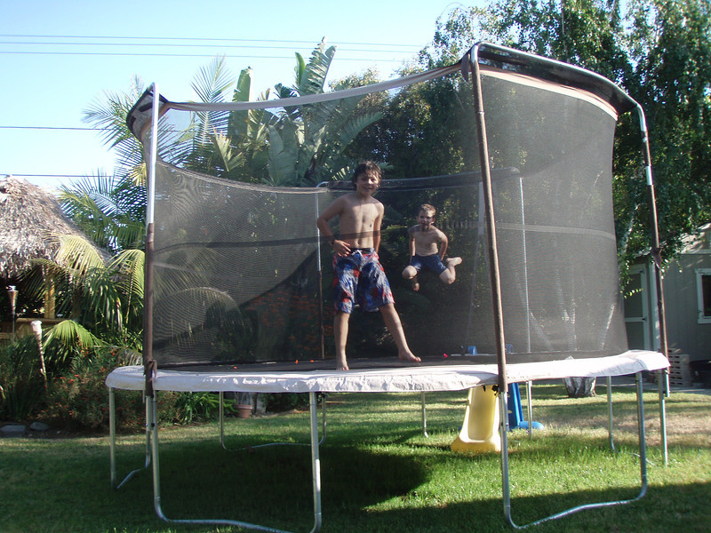 Max and Bryce at Lisa's in trampoline.