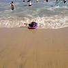 Bryce boogie boarding at Newport Beach