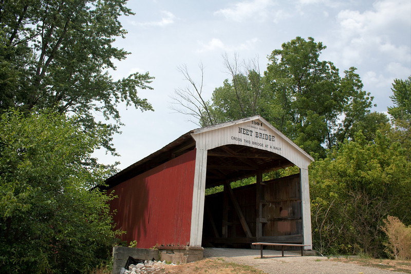 """Neet Covered Bridge<br /> Parke County, Indiana<br /> <br /> This bridge crosses the Little Raccoon Creek on County Road South 80 East in Parke County. It's closed to traffic now and off the """"main"""" road so I missed and drove past it on the way back from Bridgeton. Thankfully my wife noticed it and mentioned it so I turned around to grab a couple photos of yet another historic covered bridge."""
