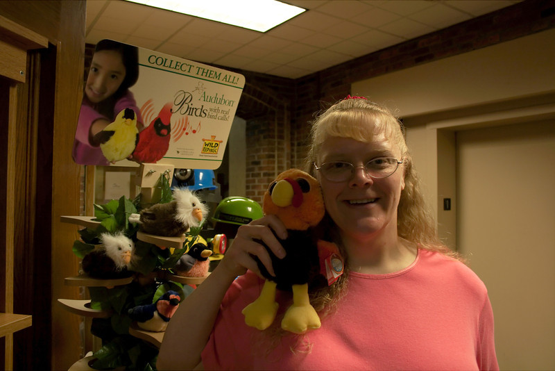 Peggy with a stuffed turkey at the Turkey Run State Park Inn