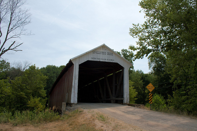 """McAllister Covered Bridge<br /> Parke County, Indiana<br /> <br /> This bridge is located on County Road East 400 South and crosses the Little Raccoon Creek.<br /> <br />  <a href=""""http://www.countyhistory.com/coveredbridge/parke/mcallister.htm"""">http://www.countyhistory.com/coveredbridge/parke/mcallister.htm</a>"""