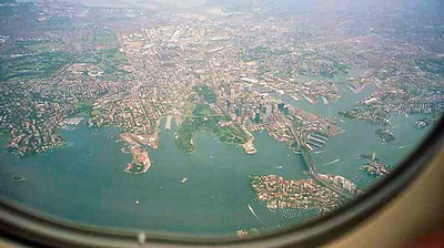A view of Sydney out the airplane window as we circle to land