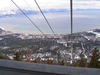 Going up!  Beautiful view of the lake and the town of South Tahoe all the way up.  Our motel is on the street above the gondola pole that heads toward the lake.  The four massive buildings on the right are Casino/hotels.  We tried our hand at gambling, and all decided it was senseless and really not much fun.  (Obviously, none of us was a big winner.)
