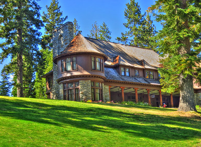 Hellman Erhman mansion built in 1903 on west side of Lake Tahoe by one of the founders of Wells Fargo Bank. Lake Tahoe was a popular vacation spot for the San Francisco wealthy in the late 1800s and early 1900s. This mansion was on 2,000 owned acres and is 12,000sf. When purchased by the state of CA in the 1960s most of the acreage was used for the Sugerpine State Park development.