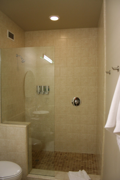 The shower at the Cedar House Sport Hotel.
