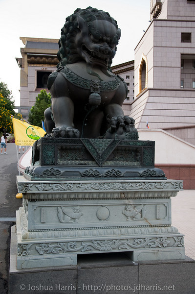 A dragon dog thing statue.  Not sure what it actually is, but these are all over the temples in Taiwan.  The paw is sitting on a cub, which signifies that this is the female statue.