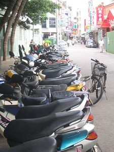 A small scooter parking lot.