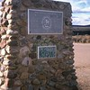 """The Rio Grande Canyon and River Bridge commemoration monument, unfortunately in a """"defaced by graffiti"""" mode."""