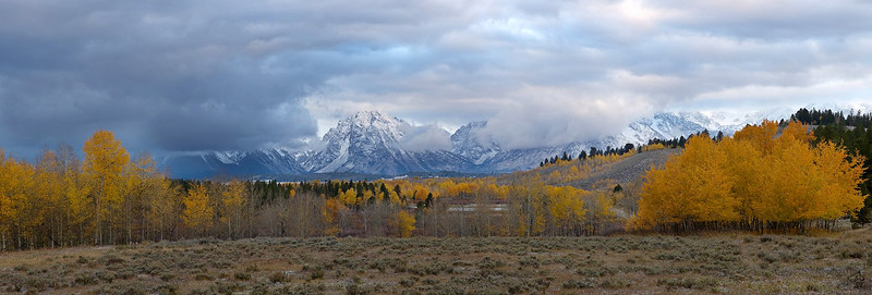 Panorama near Oxbow Bend with the Tetons in the background