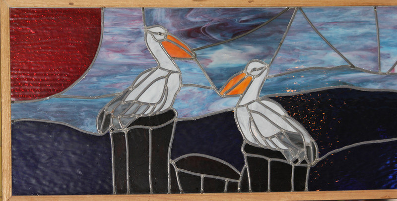"""March 12, 2011 (""""Pelican Landing"""" restaurant / Port Aransas, Nueces County, Texas) - Stained glass"""