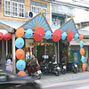 A store front in Bo Sang decorated with umbrellas