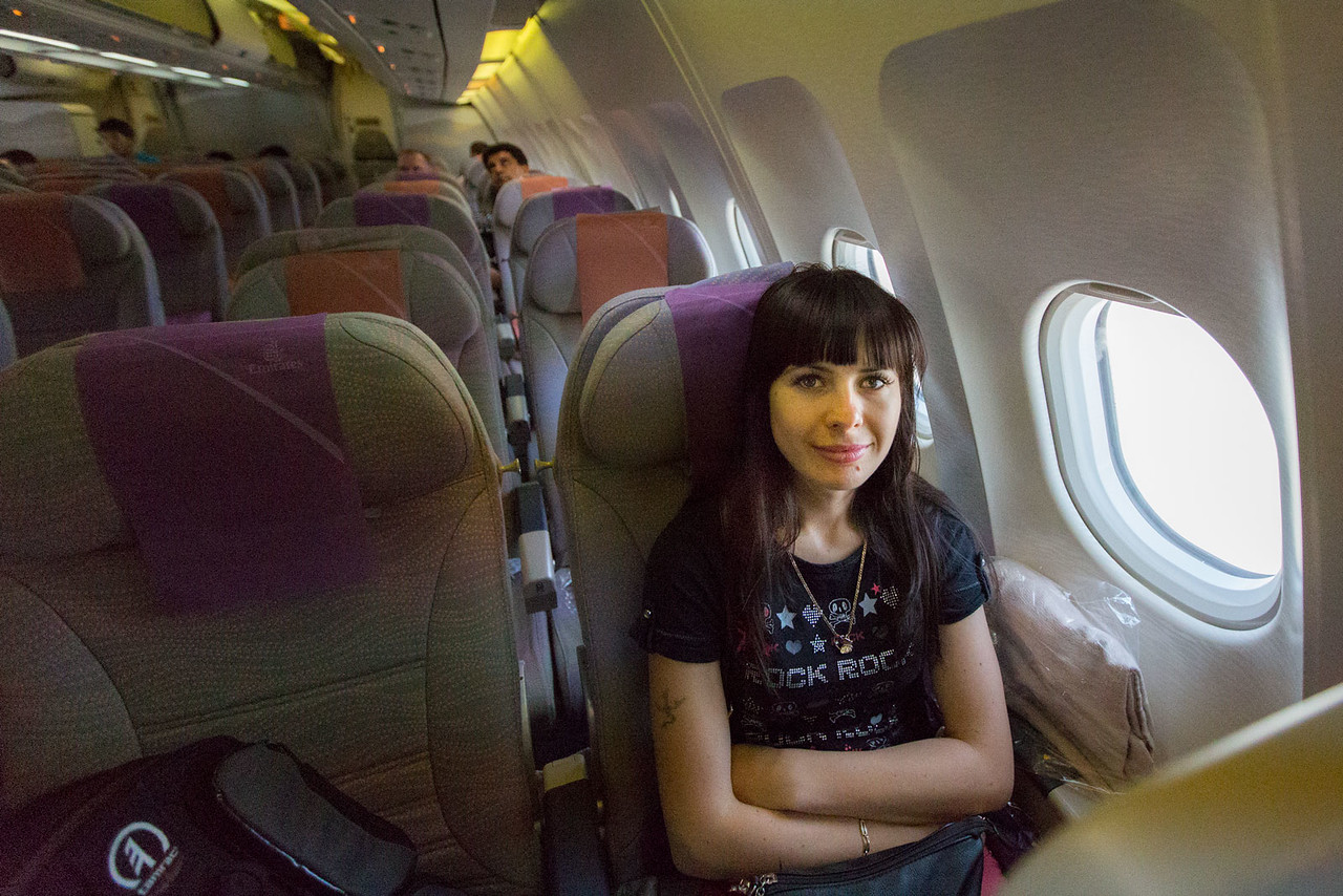 Anna's first flight on a widebody aircraft - Airbus A340.