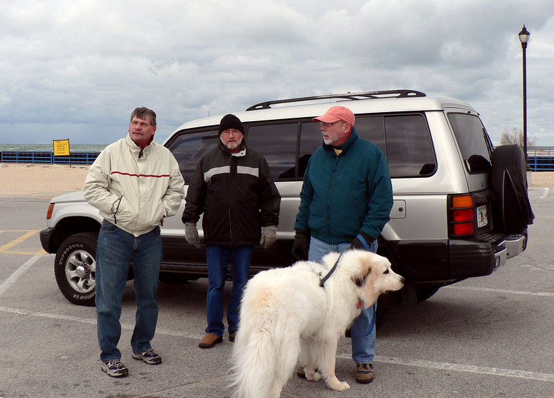 (from left) Steven, Jim, Dad, and Shadow with the Montero