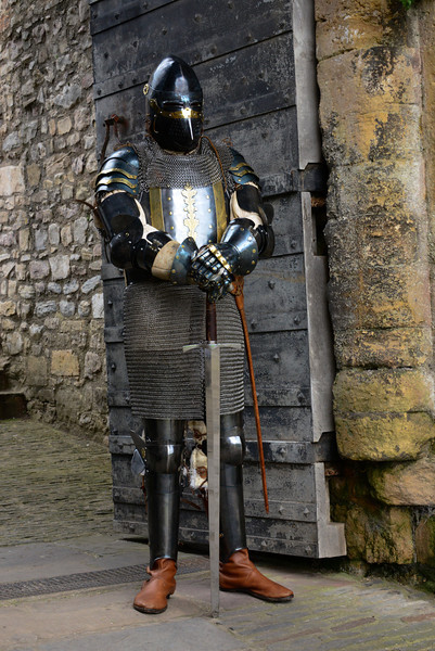 Knight guarding the entrance to Chepstow Castle in Wales