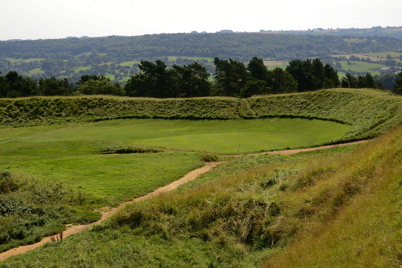 One of the holes from the golf course on Painswick Beacon