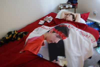 OH its true, Dad got him his own comforter in his likeness :)!