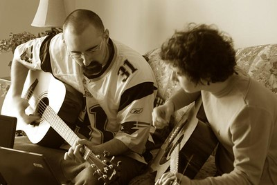 Getting some riffs in before the game!