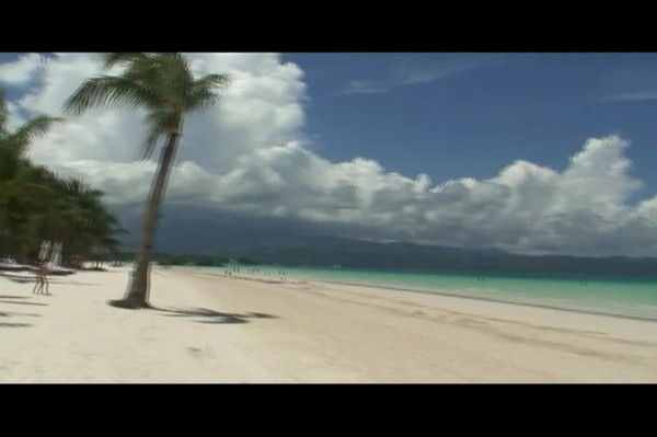 The beautiful white sand beach in front of Fridays restort in Boracay Philippines