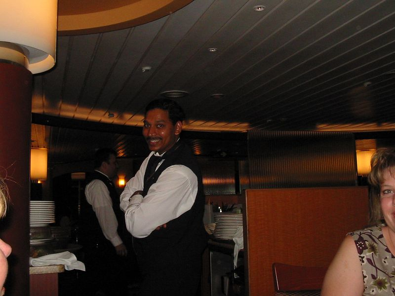 Our waiter Thomas D. from India. In all the boat's employees ethnicities spanned 28 different countries!