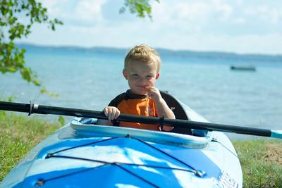 Kayaking on land.