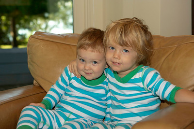 Cousins Colin (1 1/2 yrs) and Ezra (4 yrs) in matching PJs.