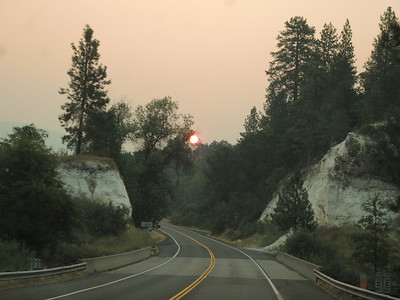 Saturday morning, August 19, sunrise at 6:45 AM, taken through the van window, leaving our northern CA campsite on our way to Oregon.