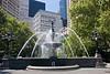 City Hall park fountain.