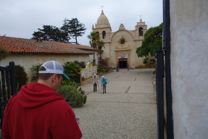 Sunday - drove to Point Lobos by way of Carmel.  This is the mission church at Carmel.