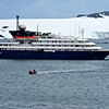 "The MV Corinthian anchored off of Atarctica.  The only way to shore was on the small Zodiac boats and all landings are ""wet"" landings."