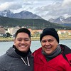 Chris and Sam on the aft of the MV Corinthian as they leave Ushuaia and head toward Beagle Channel.