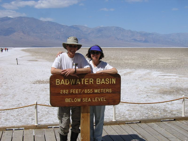 We made it to DV and survived the Night of the Howling Winds. Next day we rode the GS down, literally, to Badwater, lowest point in the U.S.