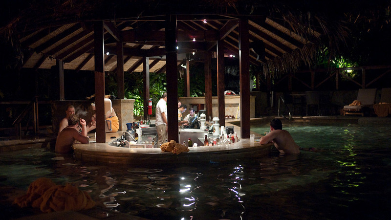the wet bar at night